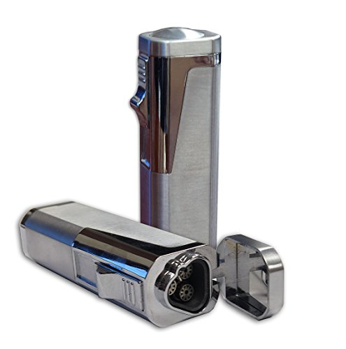 Prestige Import Group Typhoon Triple Flame Cigar Lighter with Cigar Punch Cutter, Silver