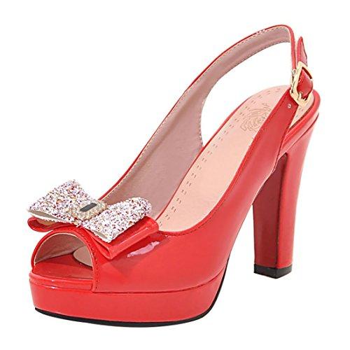 UH Bloc Confortables Talons à avec Mariage Sandales Plateforme Strass et Toe Peep Noeud Slingback avec Rouge Femmes pour r8wgqazxr