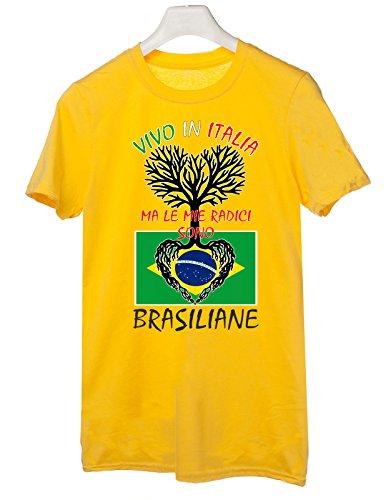 Brasiliane Le Mie Italia Regalo Brasile Humor Tshirt In Vivo Radici Giallo Idea Sono Italy Cotone Ma wX8wIHq
