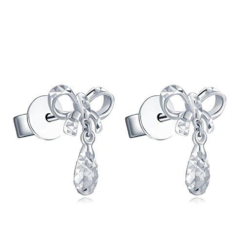 14ct 585Or blanc diamant coupe en forme de larme et du ruban Nœud Boucles d'oreille à tige pendantes, femme Bijoux Cadeau Saint Valentin