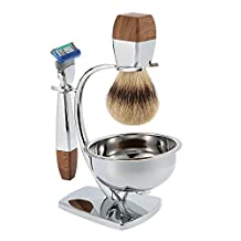 Anself 4 in 1 Men's Shaving Set Badger Shaving Brush + Shaving Stand + Stainless Steel Shaving Soap Bowl + Safety Razor for Dry or Wet Shaver