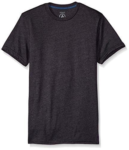 Volcom Men's Solid Modern Fit Short Sleeve Shirt, Heather Black, Medium