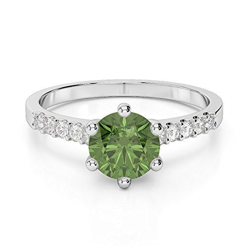 G-H/VS 1CT Coupe ronde sertie de diamants Tourmaline verte et bague de fiançailles en platine 950Agdr-1208