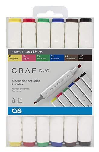 Marcador Artístico 2 Pontas, CiS, Graf Duo, 59.74, 6 Cores Básicas
