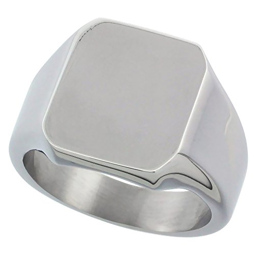 Surgical Stainless Steel Octagon Signet Ring Solid Back Flawless Finish 9/16 inch, sizes 8 to 13