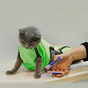 Cinf Cat Pet Supply Grooming Bag Restraint Bag Cats Nail Clipping Cleaning Grooming Bag,No Scratching Biting Restraint for Bathing Nail Trimming Injecting Examining,(Green,S)