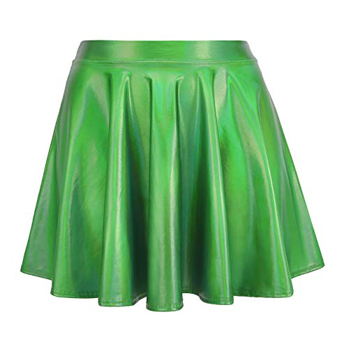 HDE Women's Shiny Liquid Metallic Holographic Pleated Flared Mini Skater Skirt (Green, Large)