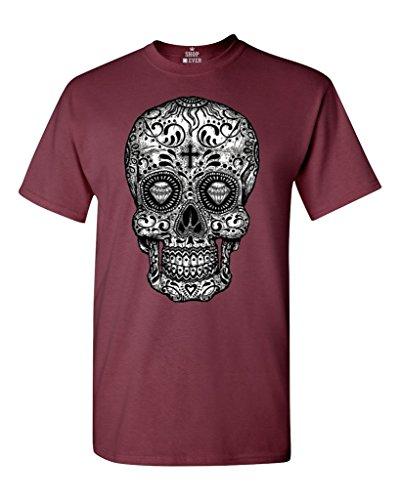 Sugar Skull Black & White T-Shirt Day of Dead Shirts Medium Maroon -