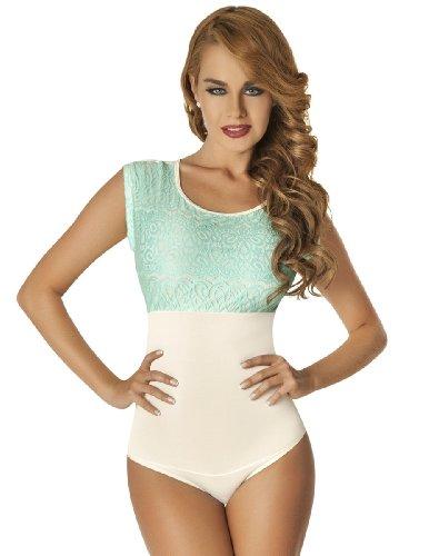 Moldeate Women's Full Body Shaper Patterned Blouse Top Bodysuit Small Ivory