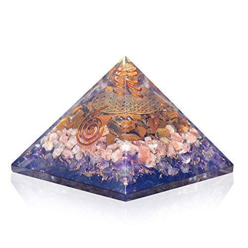 Orgonite Crystal Ultimate Triple Weight Loss Pyramid with Tiger Eye, Sunstone and Amethyst Healing Crystals Boost Your Metabolism and Inner Strength for Weight Management