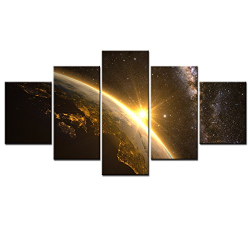 DVQ ART- Framed Canvas Wall Art Painting Abstract Earth Sun and Milky Way Stretch on Canvas Modern Earth Print Picture Ready to Hang for Home Decor 5 Pcs (30cmx40cmx2pcs,30cmx60cmx2pcs,30cmx80cmx1pcs) (Discount Canvas Art)