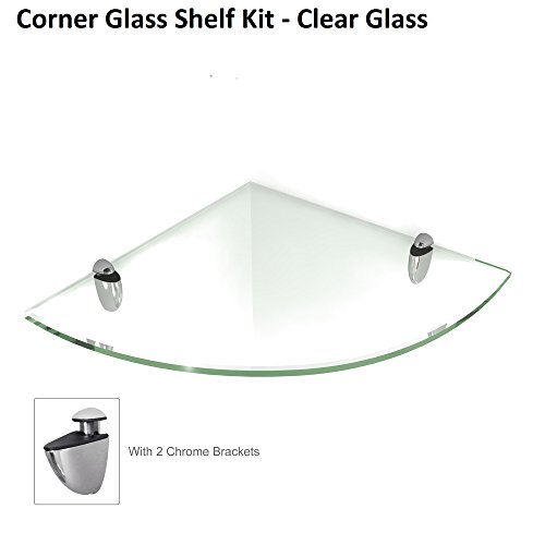 Fab Glass and Mirror Corner Glass Shelf, 6