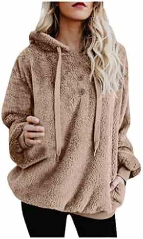 Libermall Womens Coats Fashion Long Sleeve Winter Warm Fuzzy Fleece Sweatshirt Open Front Jackets Outwear with Pocket