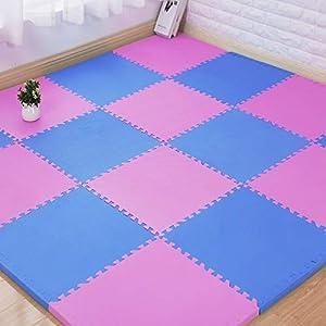 RecoverLOVE Reversible Interlocking EVA Gym Foam Floor Mat Tiles Set of 12 Puzzle Exercise Mat with Interlocking Tiles Gym Flooring Gym Mats Exercise Gym Floor Mat Gymnastics Protective Flooring