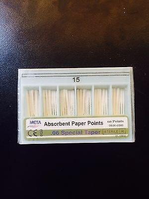 Bulk dental paper point .06 Taper #15 10x of 60/pack (Total 600pieces) -Meta