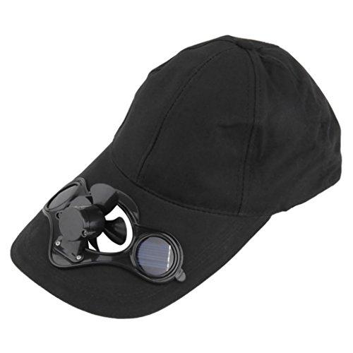 n's Summer Fishing Cap with Solar Power Cool Fan Beach Boater Hat (Black) ()