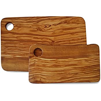 Set Of 2 CUTTING BOARDS For Food Preparation And Presentation   Premium  Natural Olive Wood Chopping