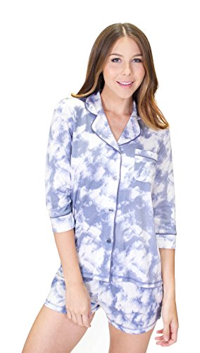 PJ Salvage Women's Desert Dream Tye Dye Shirt, Denim, Medium