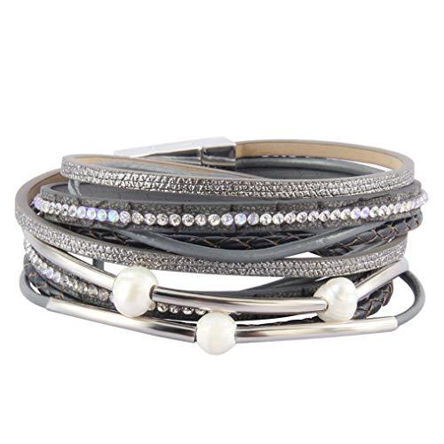 Around Wrap Pearl (Jeilwiy Tube Leather Bracelet Women Braided Wrap Cuff Bracelets Pearl & Rhinestone Leather Bangle for Lady,Wife,Teens Girl)