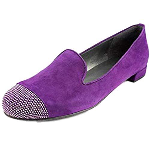 (Stuart Weitzman Women's Suede Lingo Loafer Shoes Flats Hyacintha Purple 7.5)