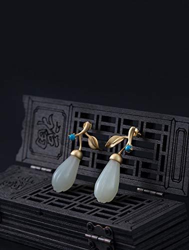 Hetian Jade Flower Earrings, With Turquoise, 925 Sterling Silver Earrings, Gold Filled Earrings For Women, Jade Earrings For Women