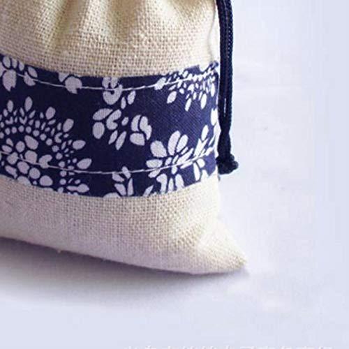 Qinlee R/étro Sac /à Cordon Sacs de Cadeau Bijoux Sacs Porte-Monnaie Sac de Rangement Femmes Enfant Sac Coton et Lin 8cm*12cm