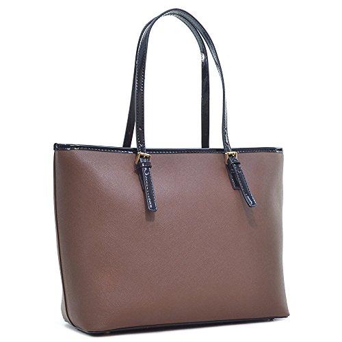 - Women Saffiano Leather Patent Trim Tote Terse Bag