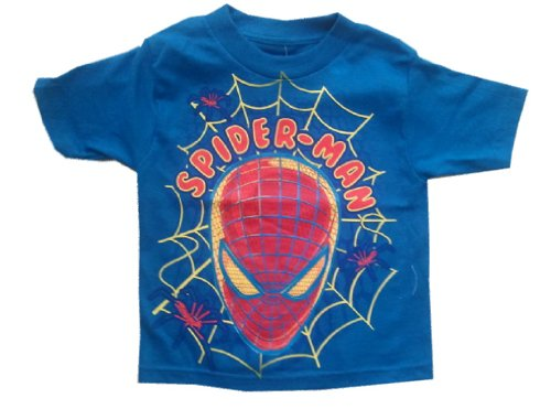 SPIDERMAN - Face In Web - Blue Toddler T-shirt - size Small (2T)