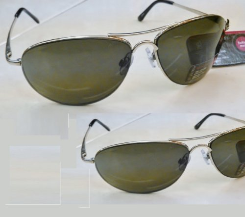 2 Prs Stylize By Foster Grant Bright Silver Aviator Sunglasses W Spring Hinges & Eye Glass - Foster Grant Prices Sunglasses