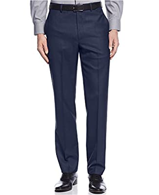 Calvin Klein Blue Extreme Slim Fit Dress Pants For Men Classic Flat Front Style Trousers