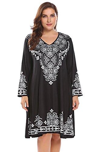 Zeagoo Womens Casual 3/4 Sleeve Scoop Neck Heart Print Dress Black 18 Plus by Zeagoo