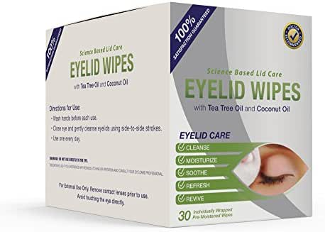 Premium Eyelid Wipes with Tea Tree and Coconut Oil - Cleansing Eye Wipes for People Itchy Eyes - Box of 30 Natural Eye Wipes