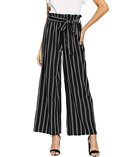 SHINFY Plus Size Wide Leg Pleated Palazzo Pants for Women - Loose Belted High Waist