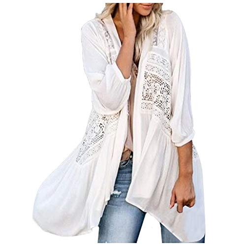 HebeTop Women Sexy Beach Cover up Lace Chiffon Kimono Cardigan Blouse Tops White