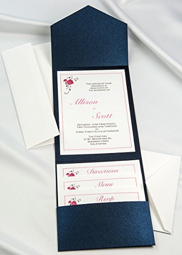 All-in-One Pocket Invitation Kit - Midnight Blue Elegance - Pack of 20