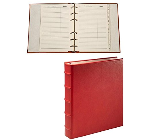 Desk Address Book - Refillable - RED Calfskin Leather by Graphic Image™ - by Graphic Image
