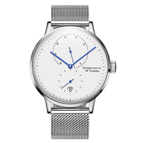 irugh Automatic Mechanical Watch, Minimalist Style Bauhaus Men's Stainless Steel Belt Watch Calendar Depth Waterproof Watch