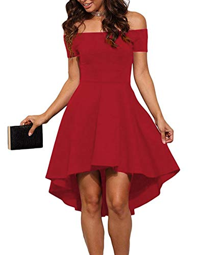 Sarin Mathews Women Off The Shoulder Short Sleeve High Low Cocktail Skater Dress Red S
