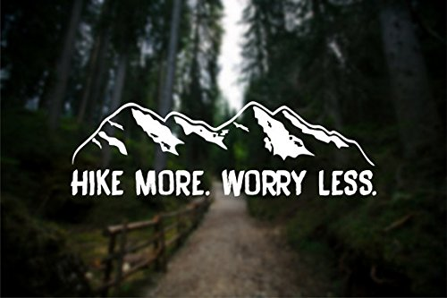 (Hike More Worry Less Wanderlust Decal Vinyl Sticker|Cars Trucks Vans Walls Laptop| White |7.5 x 2.3)