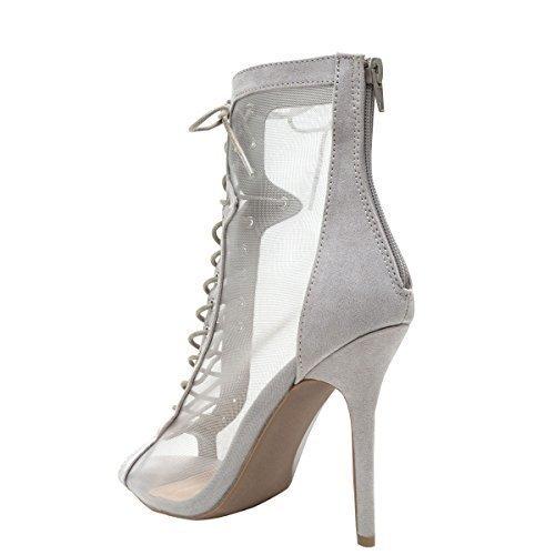 Wild Diva Womens Open Peep Toe Sheer Mesh Stiletto High Heel Lace Up Ankle Booties Boot 7.5 (High Heel Mesh Heels)