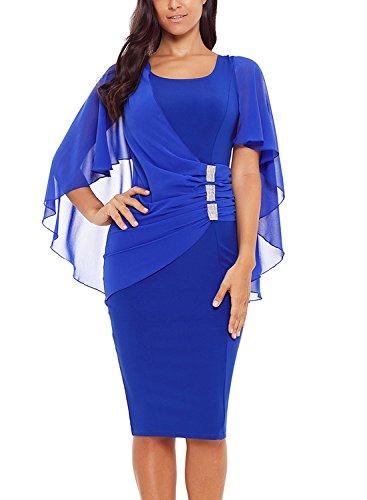 Itsmode Dresses for Women Party Wedding Cape Sleeve Chiffon Ruffles Waist Detail Back Split Bodycon Midi Pencil Dress Blue ()