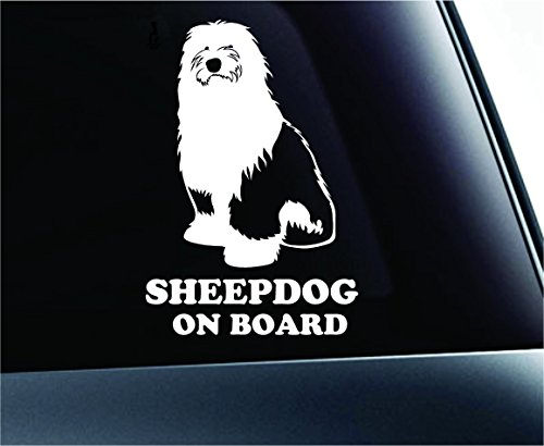 Old English Sheepdog on Board Symbol Decal Paw Print Dog Puppy Pet Family Breed Love Car Truck Sticker Window (White)
