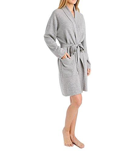 Arlotta Short Cashmere Robe, Small, Flannel Grey