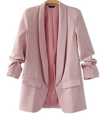 JIANGTAOLANG Women Black Green Blazer Jacket Formal Jackets Women Blazers and Jackets Work Office Pink S