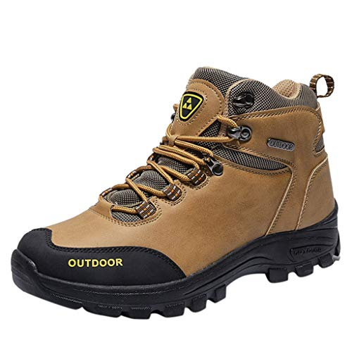 Men's Breathable Non-Slip Hiking Shoes Summer High Top Lace Up Climbing Boots Outdoor Walking PU Leather Sport Sneakers (Yellow, US:6.5 /Foot Length:24.5cm/9.7