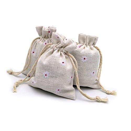 20 PCS Chic Cotton Burlap Drawstring Pouches Gift Bags Wedding Party Favor Jewelry Bags 3.5'' x 4.7'' (White)
