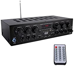 Upgraded 2018 Pyle Wireless Bluetooth Karaoke Stereo Receiver Amplifier - 6 Channel 750 Watt Home Audio Sound Power Amplifier w/ USB, Headphone, 2 Microphone Input w/ Echo, Talkover for PA - PTA62BT from Sound Around