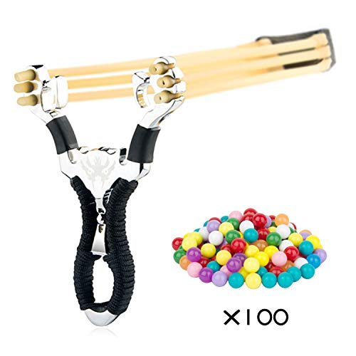 Stainless Steel Slingshot Toys with Classic Construction Hunting Slingshot and Slingshot Ammo for Catapult Game, Outdoor, Hunting-for Adult (Black)