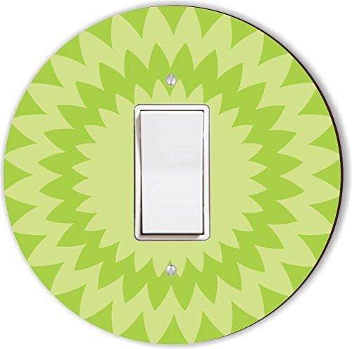 Rikki Knight RND-LSPROCK-141 Zig Zag Spiral Round Single Rocker Light Switch Plate, Lime Green by Rikki Knight