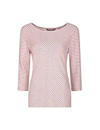 Mountain Warehouse Melrose Womens Spring ¾ Sleeve Stripe Knit Top Red 4